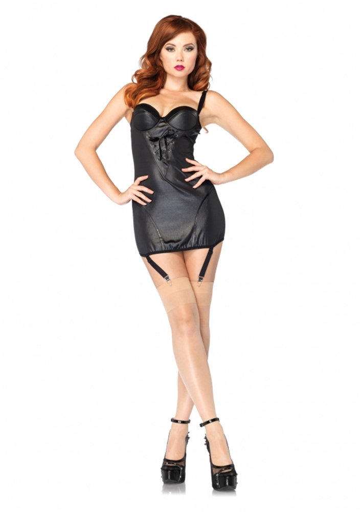 Wet Look Garter Dress Adult Womens Costume