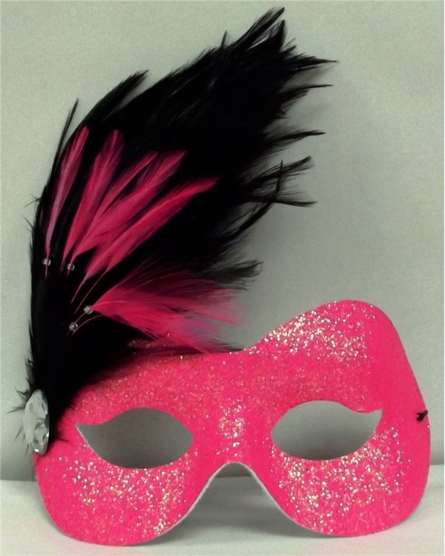 Hot Pink Camille Glittered Adult Mask