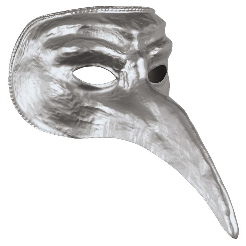 Silver Venetian Long Nose Mask by Disguise