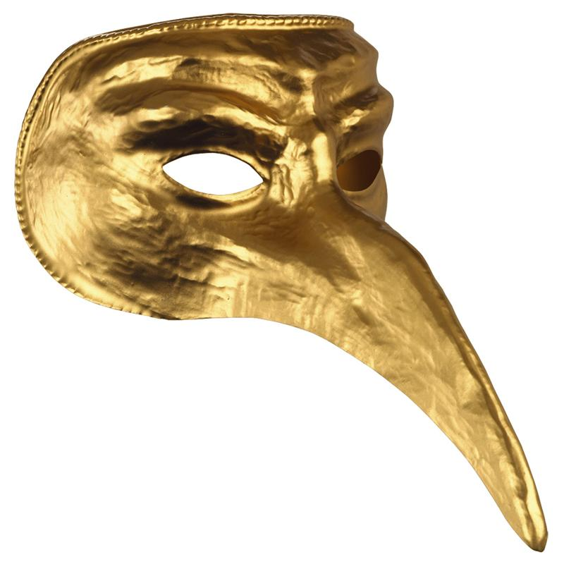 Gold Venetian Long Nose Mask