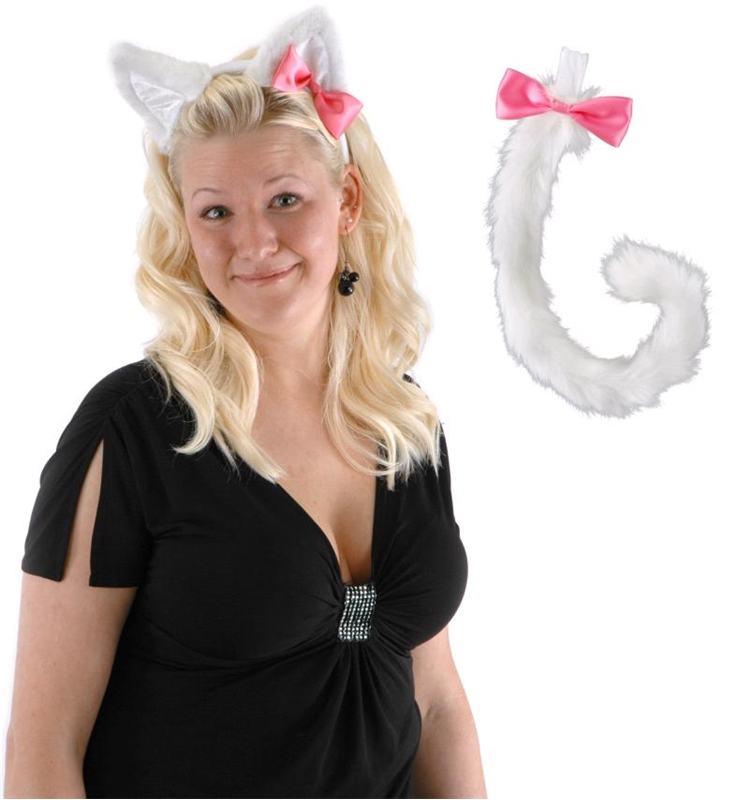Cute Kitty Ears and Tail Set White