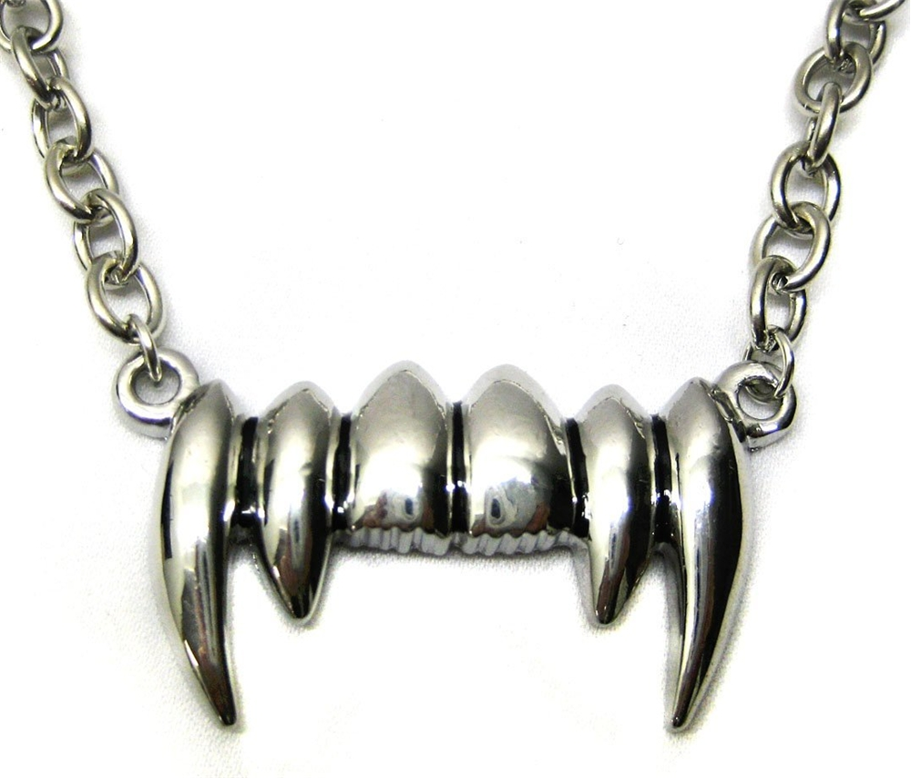 Silver Dracula Fang Vampire Teeth Necklace