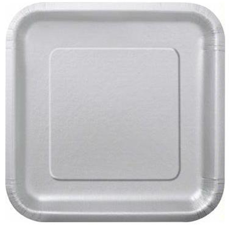 "Image of 7"" Silver Square Plates"