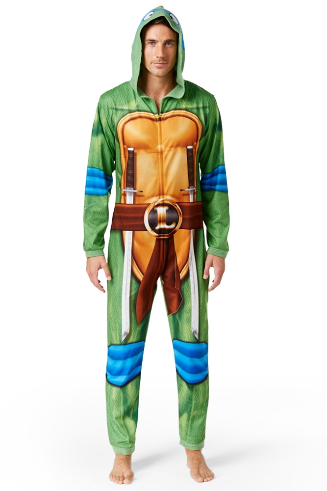 TMNT Leonardo Adult Mens Onesie with Hood