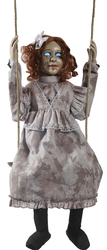 Swinging Decrepit Dessie Doll Animated Prop