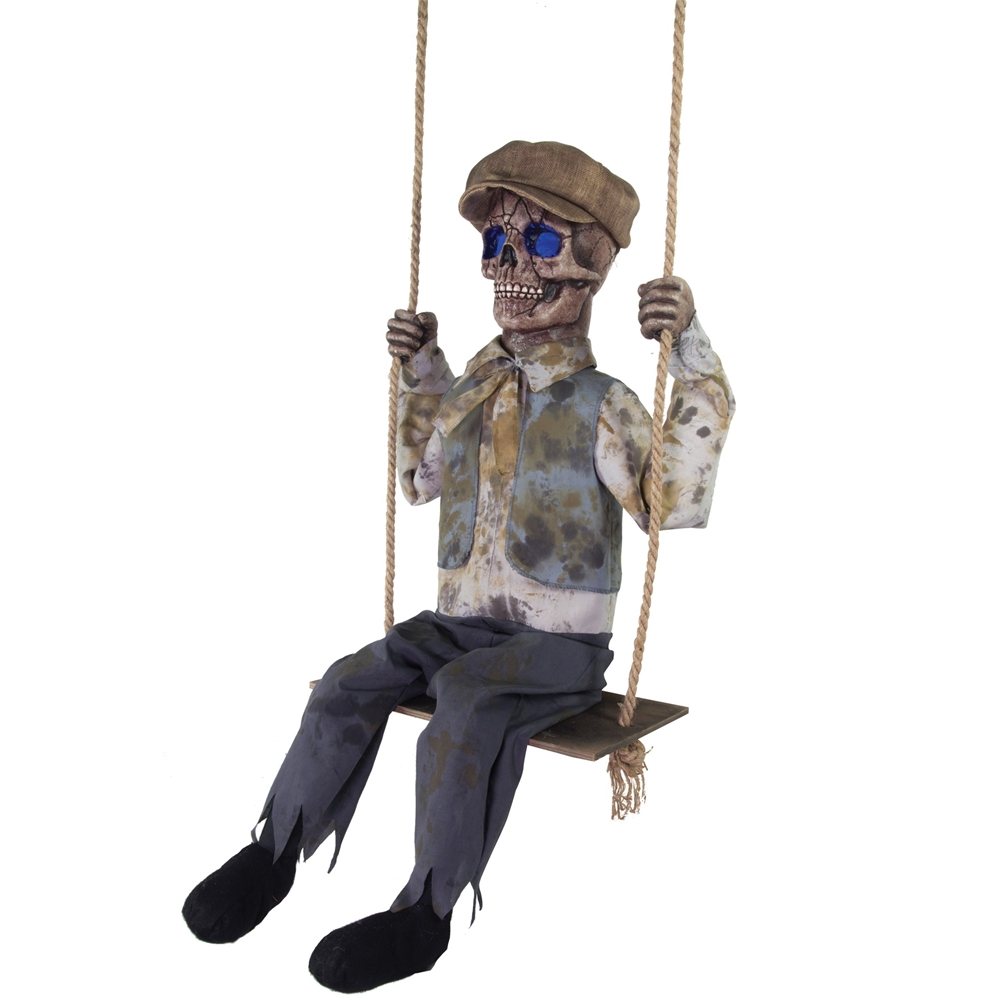 swinging skeletal boy animated prop