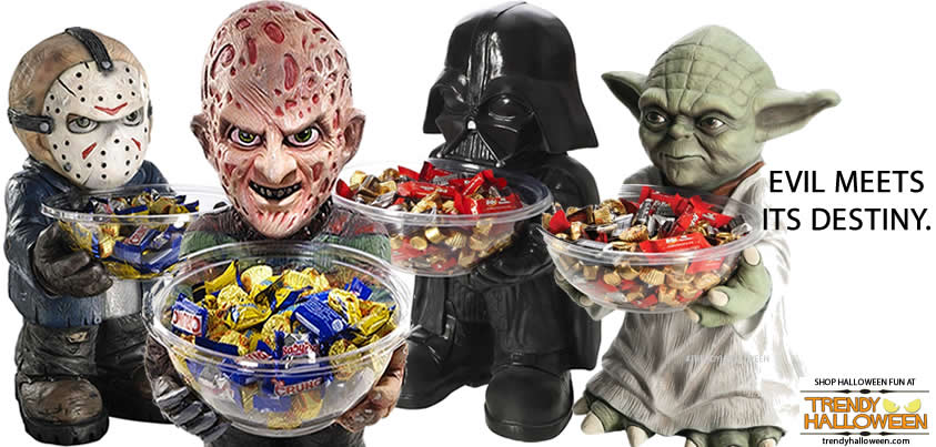 jason freddy krueger darth vader yoda candybowl holders - Freddy Krueger Halloween Decorations