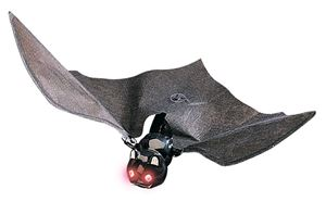 Buffy flying bat with blinking eyes for Animated flying bat decoration