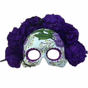 Purple Day of the Dead Embroidered Half Mask