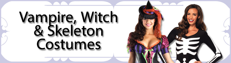 Vampire, Witch & Skeleton Womens Costumes