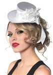 White-Satin-Top-Hat-with-Flower-And-Bow