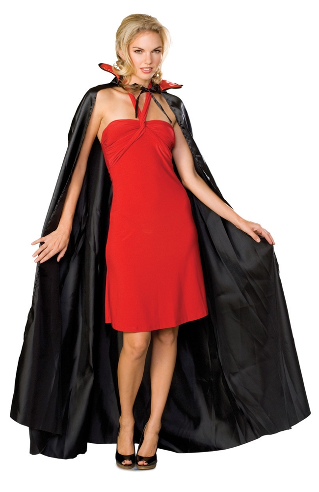 Long Black Satin Vampire Cape