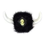 Furry-Black-Viking-Helmet-with-Skull