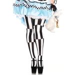 Woven-Striped-Optical-Illusion-Plus-Size-Pantyhose