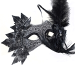 Black-Venetian-Masquerade-Mask-with-Leaves-Flower