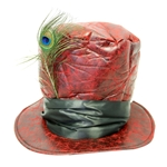 Distressed-Red-Faux-Leather-Top-Hat