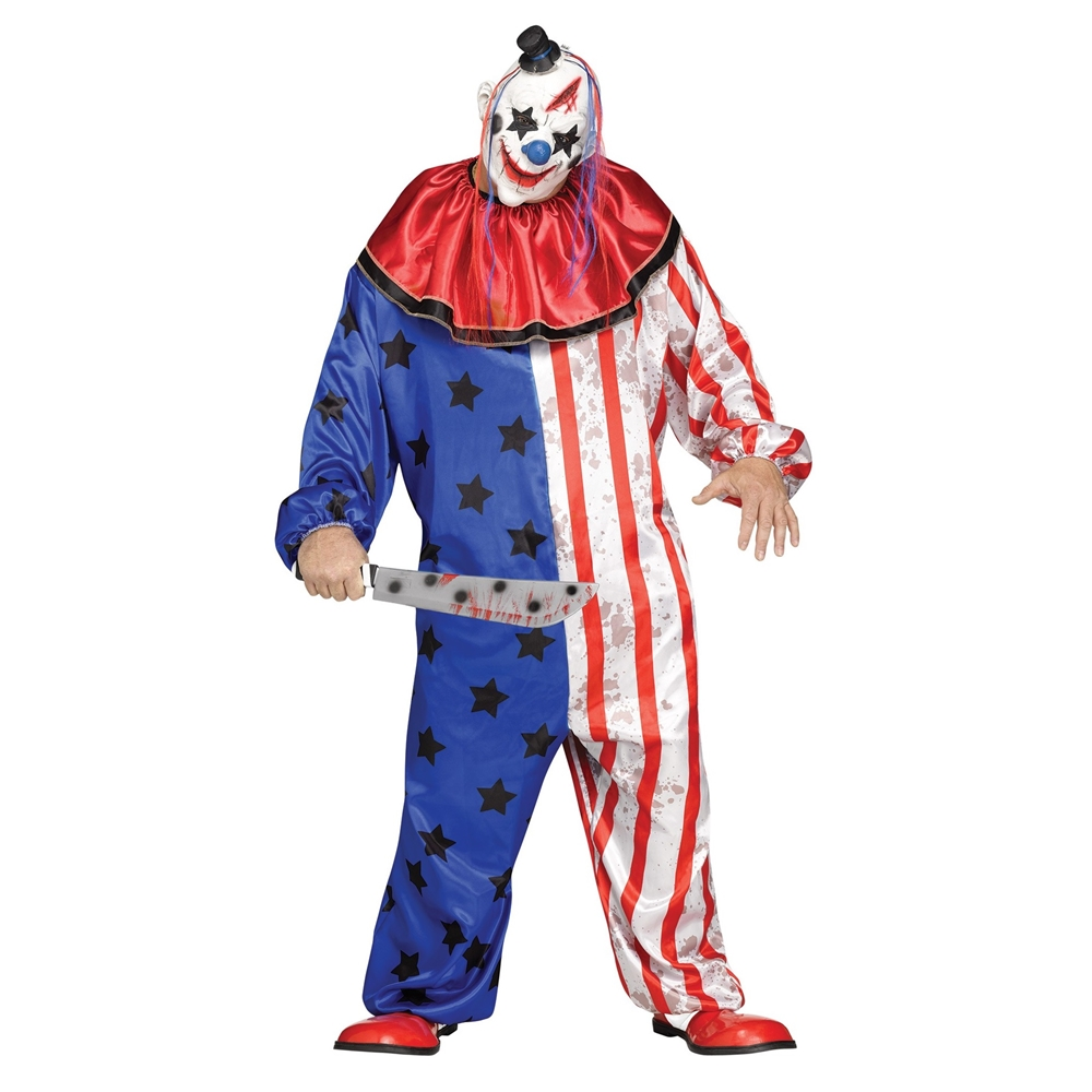 Stars & Striped Evil Clown Adult Mens Plus Size Costume via TrendyHalloween.com