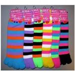 Ladies-Strip-Neon-Toe-Sock